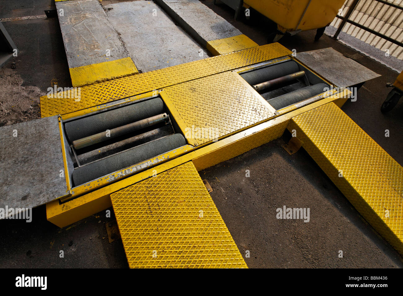 Test stand for car brakes, ramp with rolls, MOT, Germany, Europe - Stock Image