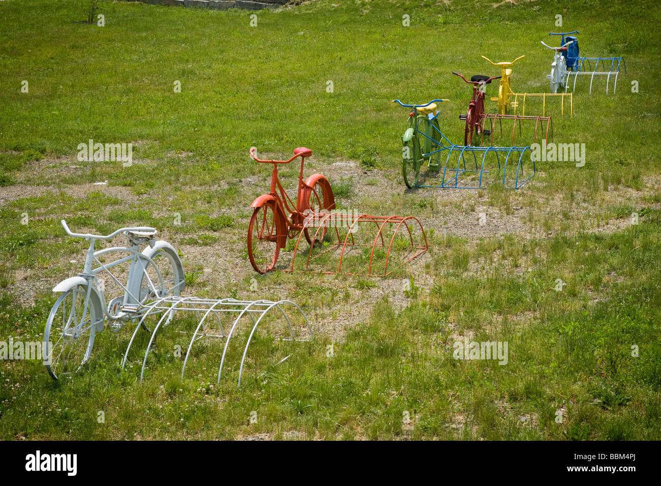 Colorful painted bikes decoration at a bike shop Schuylerville New York Saratoga County - Stock Image