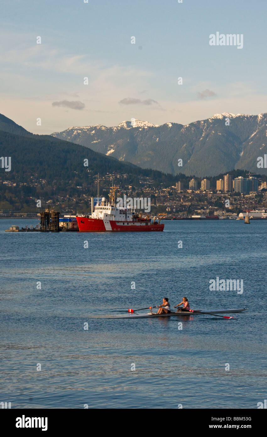 View of North Vancouver from downtown - Stock Image