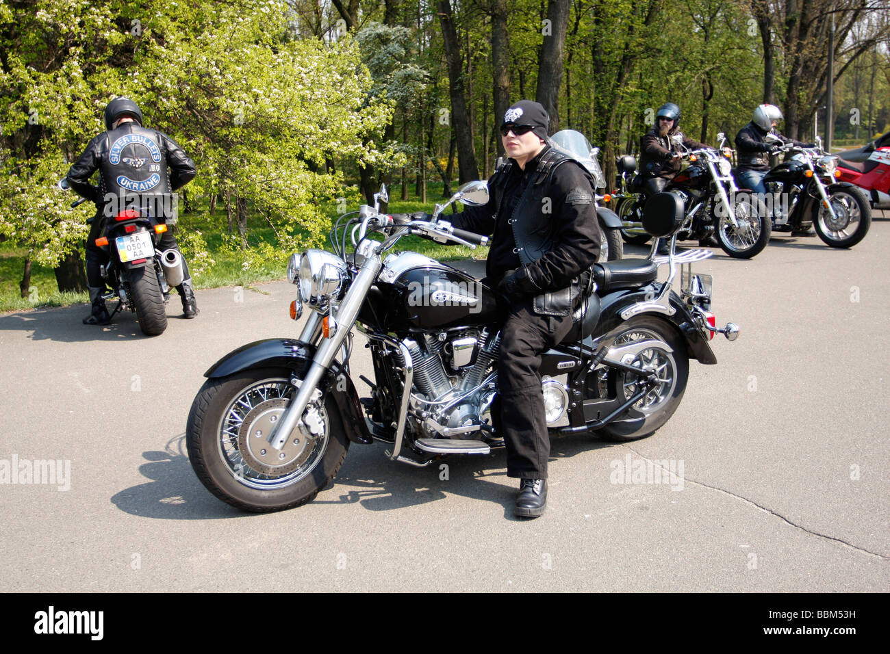Members of Kyiv Kiev bikers club meet for the season opening ride in April 2009 dressed strictly in MC style - Stock Image