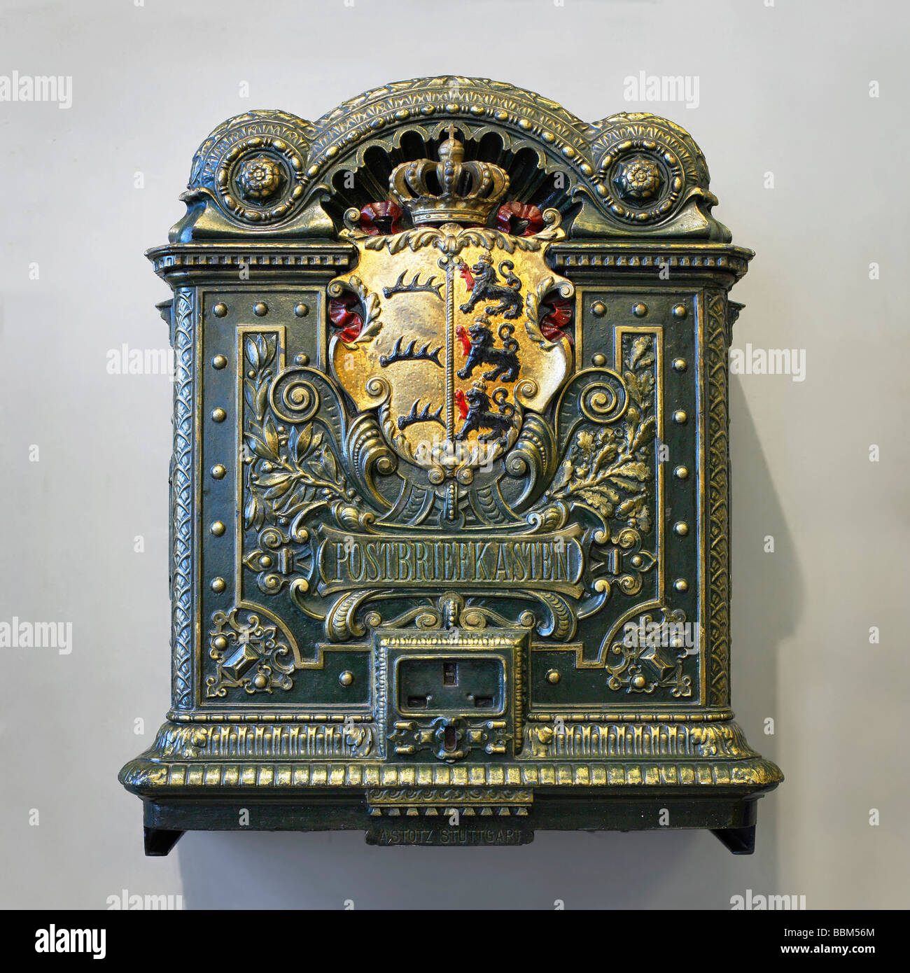 Historic letterbox at the Museum for Communication, Museum fuer Kommunikation, Berlin, Germany, Europe Stock Photo