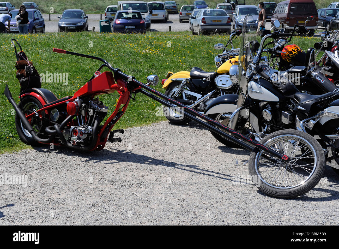 Harley Davidson Stock: Red Chopper Harley Davidson Stock Photo: 24414861