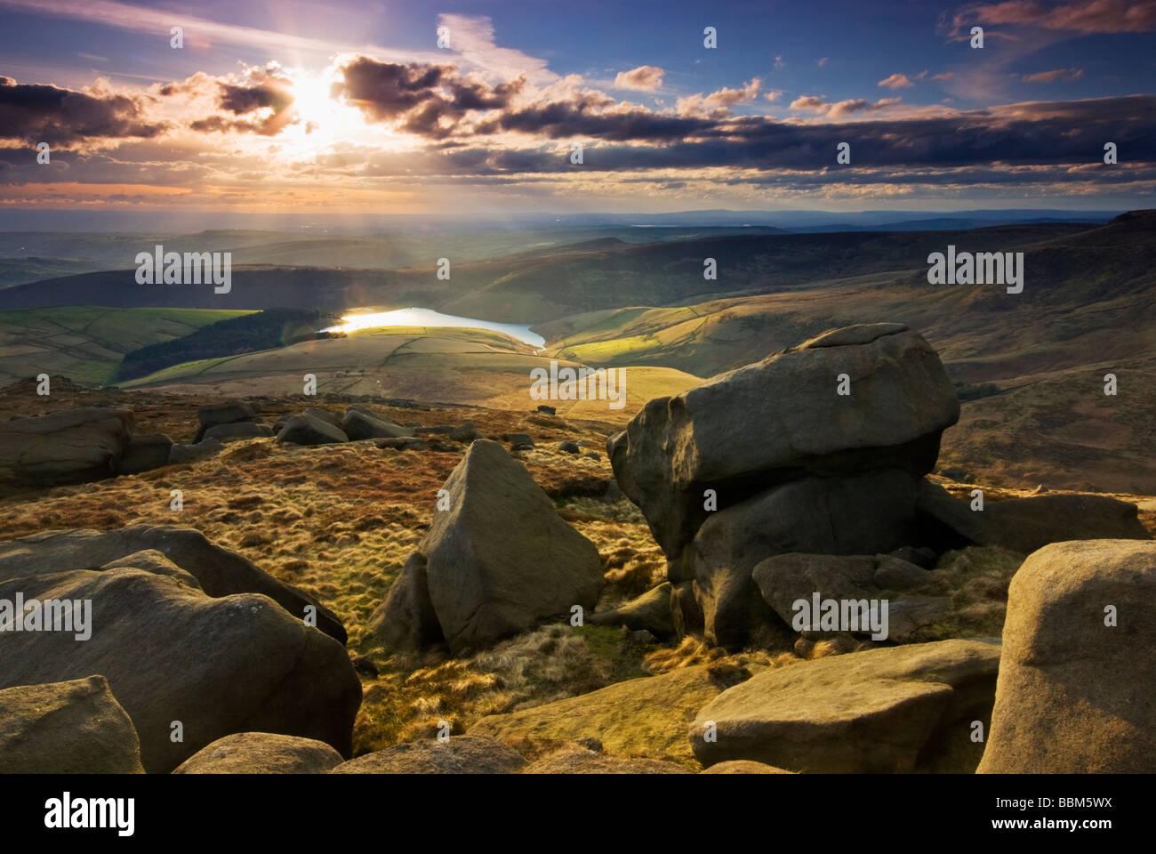 View from Kinder Scout across towards Kinder Reservoir. Peak District UK GB EU Europe - Stock Image