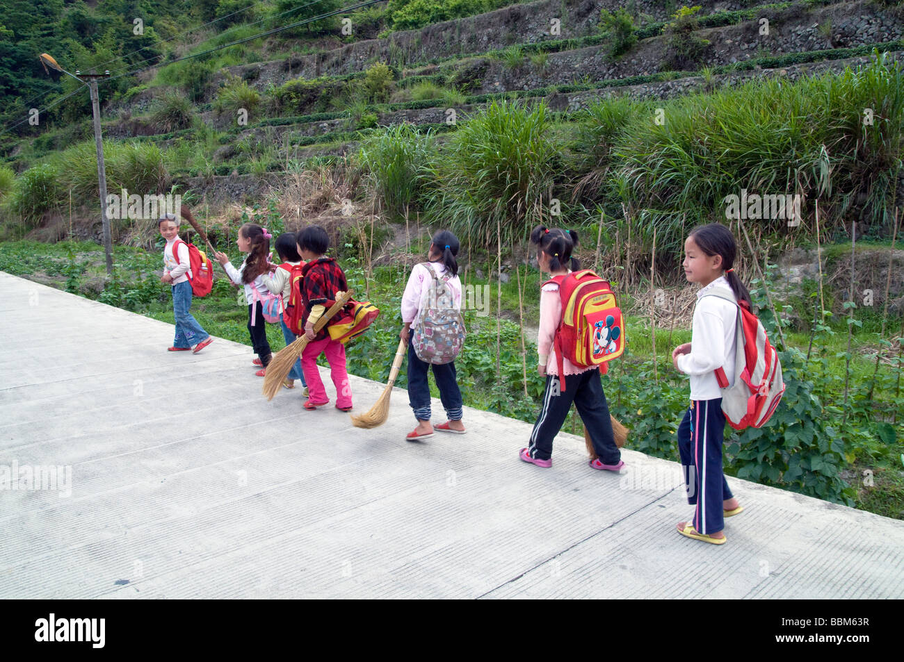 CHINA Children of migrant workers from the countryside attending school in Yunnan province Photo by Julio Etchart - Stock Image
