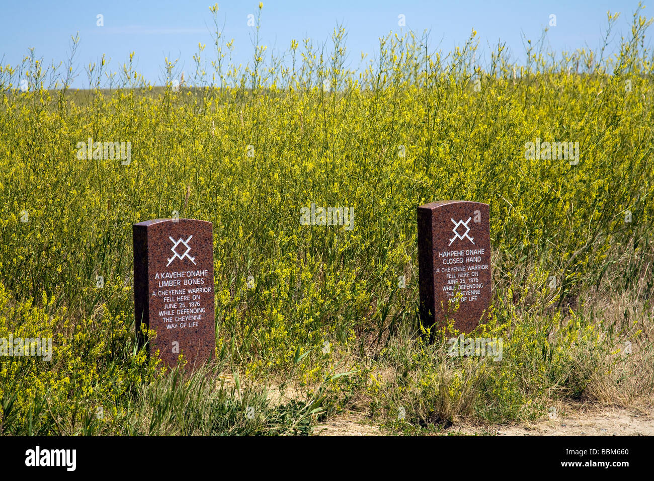 Indian headstones commemorating deaths of two Lakota Cheyennes at the Little Bighorn Battlefield National Monument. - Stock Image