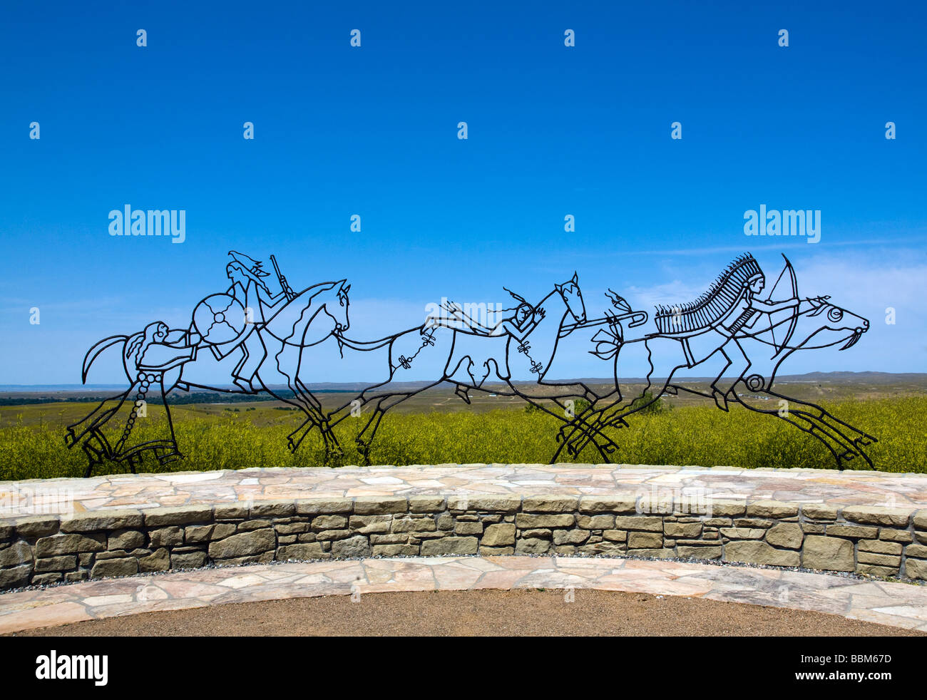 Lakota Cheyenne Indian Memorial, Little Bighorn Battlefield, Montana. - Stock Image