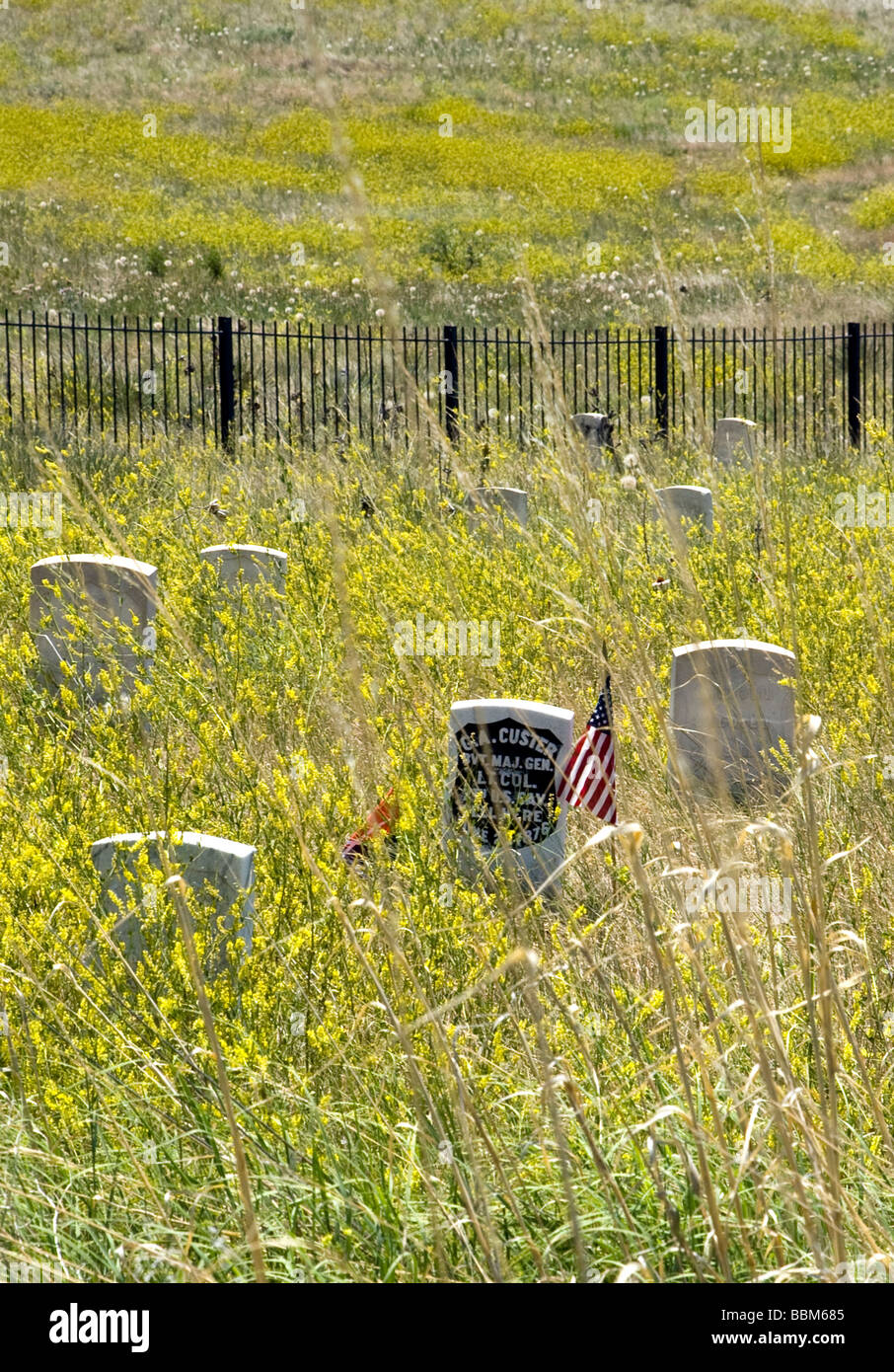 Lt. Col. George A. Custer's headstone, Little Bighorn Battlefield National Monument., Big Horn County, Montana. - Stock Image