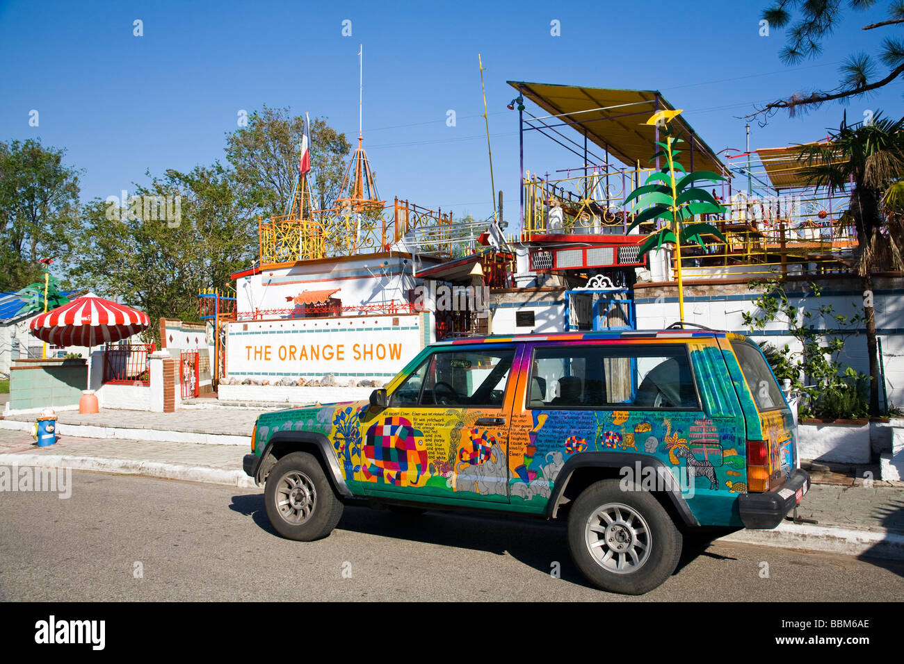 An art car sits outside The Orange Show's weird and unique collection of folk art in Houston, Texas. - Stock Image