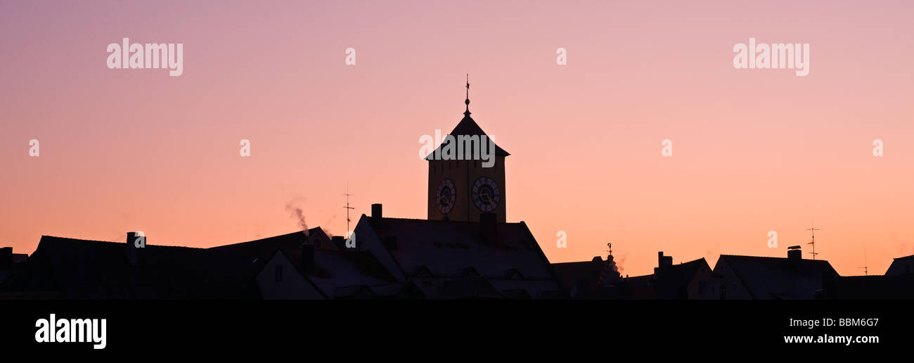 Silhouette of Turm tower and city skyline, Regensburg, Bavaria, Germany - Stock Image