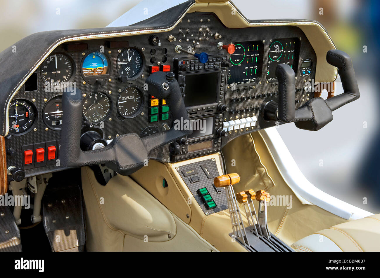 Cockpit of a twin-engined airplane - Stock Image