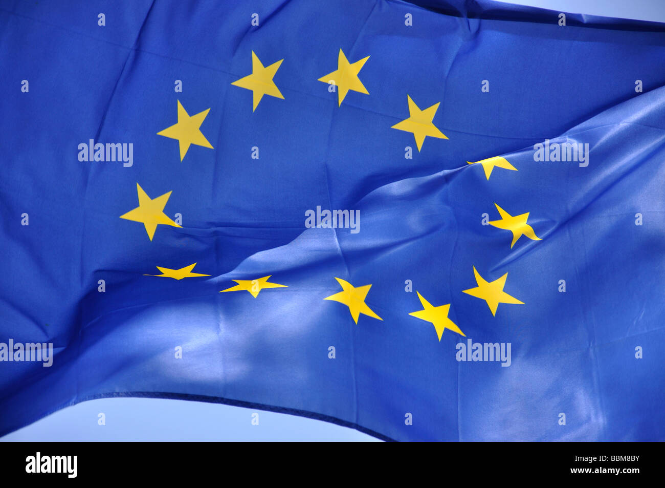 European Union flag, Cala d'Or, Santanyi Municipality, Mallorca, Balearic Islands, Spain - Stock Image