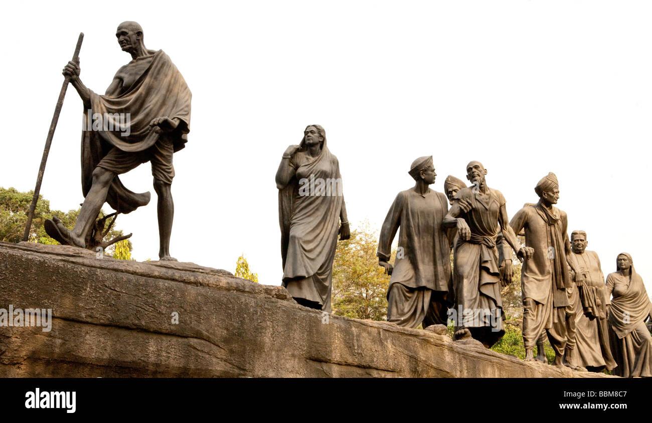 Bronze Statue Of Mahatma Gandhi New Delhi India - Stock Image