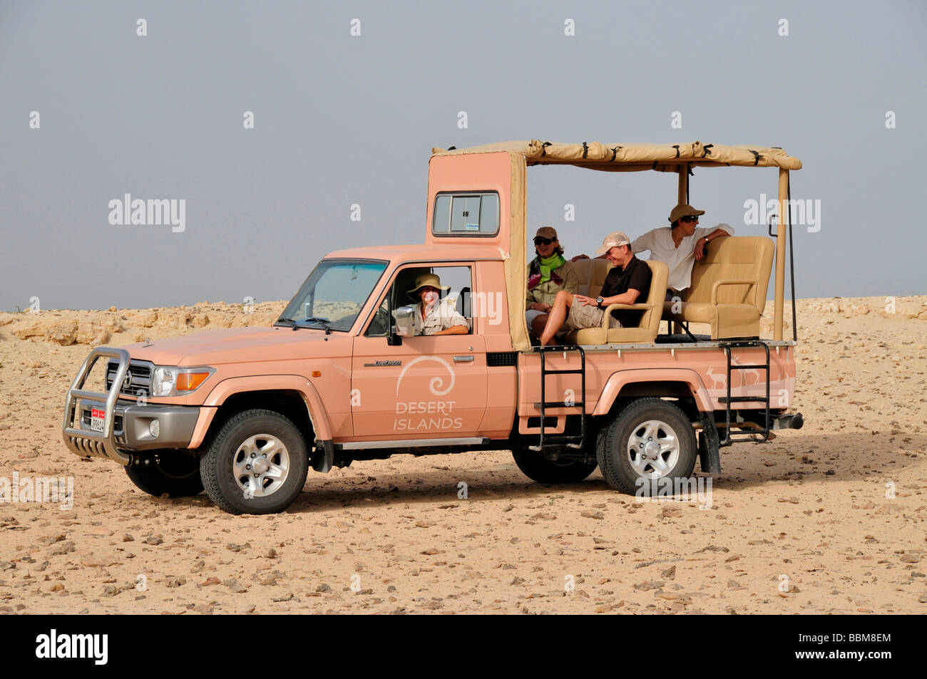 Safari-vehicle, tourists, Sir Bani Yas Island, Abu Dhabi, United Arab Emirates, Arabia, Near East, Orient - Stock Image