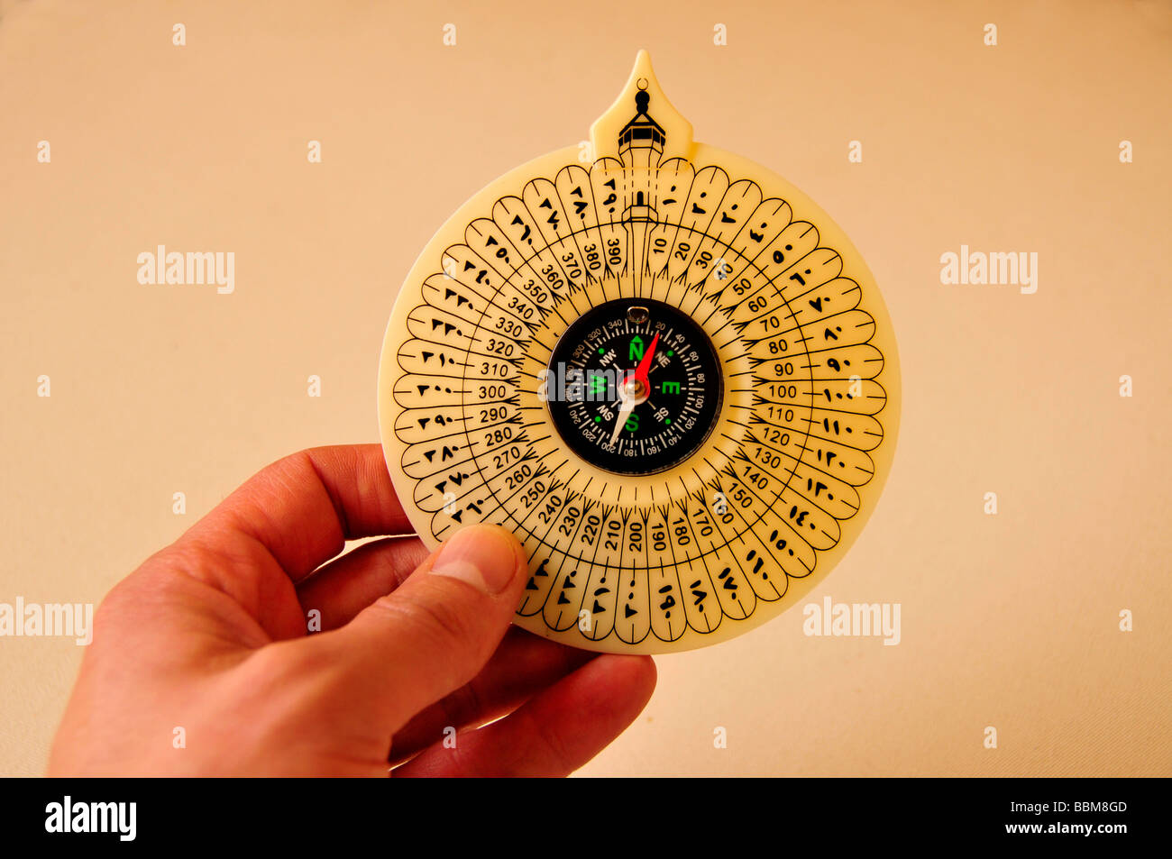 Compass for moslems, pointing in direction of Mecca, Abu Dhabi, United Arab Emirates, Arabia, Near East, Orient - Stock Image