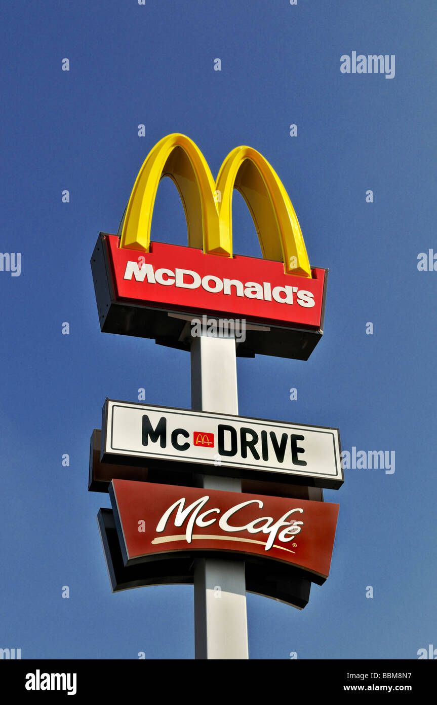 Advertising column of Mc Donald's, Mc Drive and Mc Cafe, Germany, Europe - Stock Image