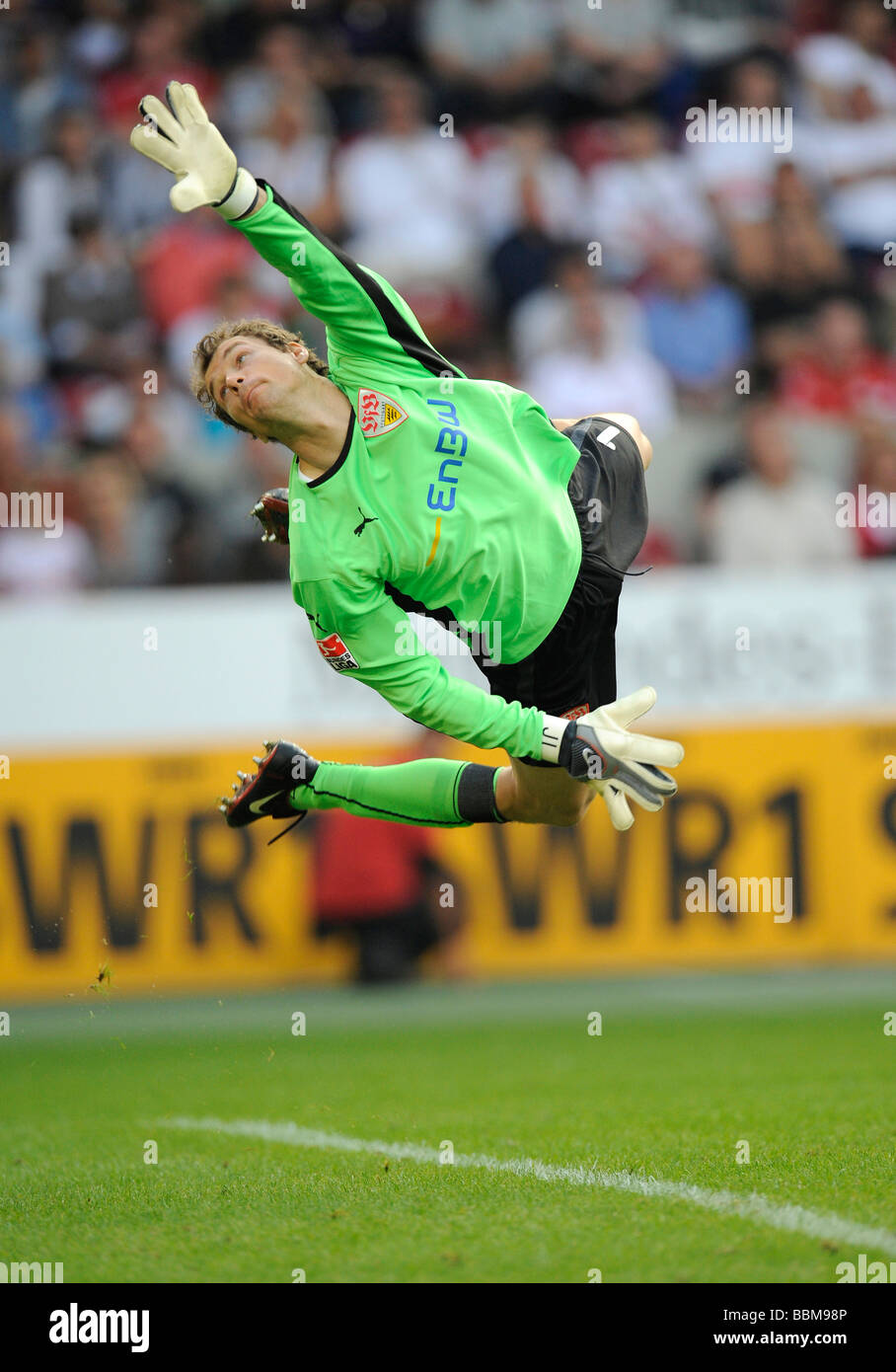 Brilliant save, goalkeeper Jens Lehmann, playing for VfB Stuttgart - Stock Image