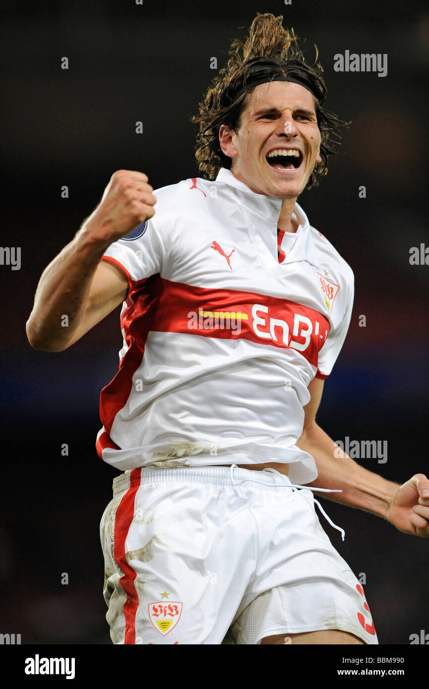 Mario Gomez, German footballer playing for VfB Stuttgart, goal celebration - Stock Image