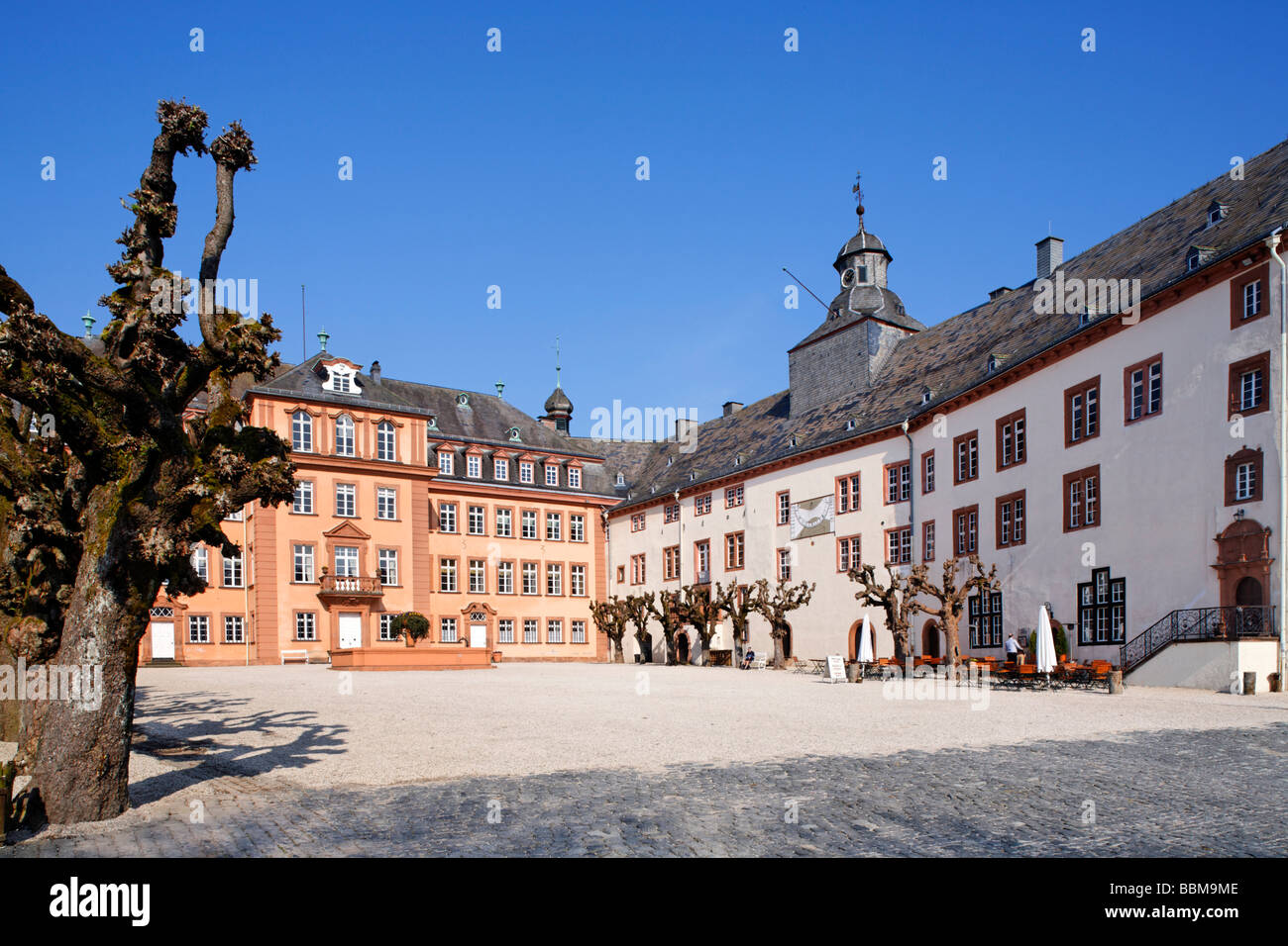 Castle square with north and central wing, Berleburg Castle, Bad Berleburg, district of Siegen-Wittgenstein, Rothaarsteig, - Stock Image