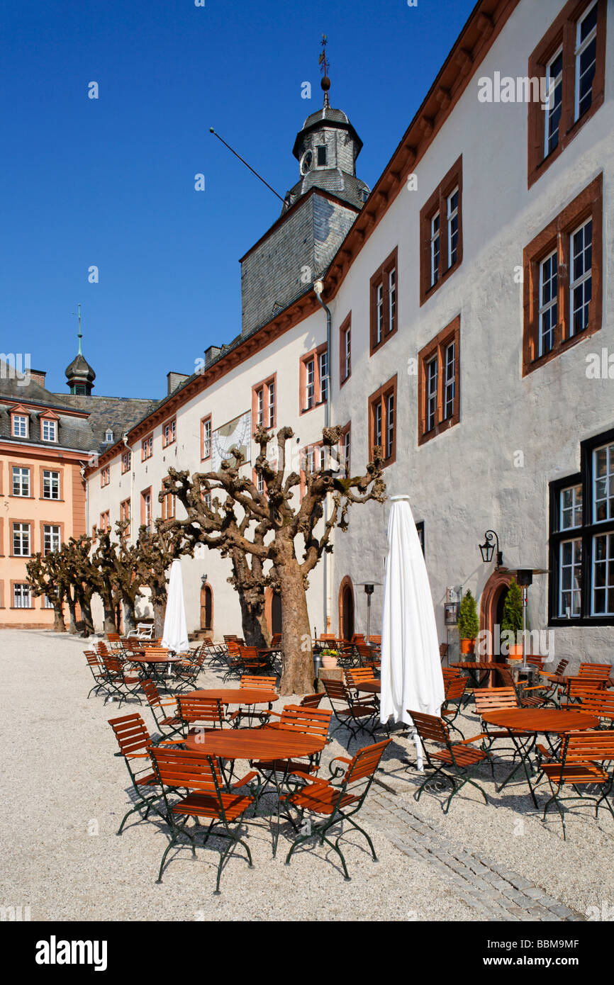 North wing with restaurant 'Schloss-Schaenke', patio, Berleburg Castle, Bad Berleburg, district of Siegen - Stock Image