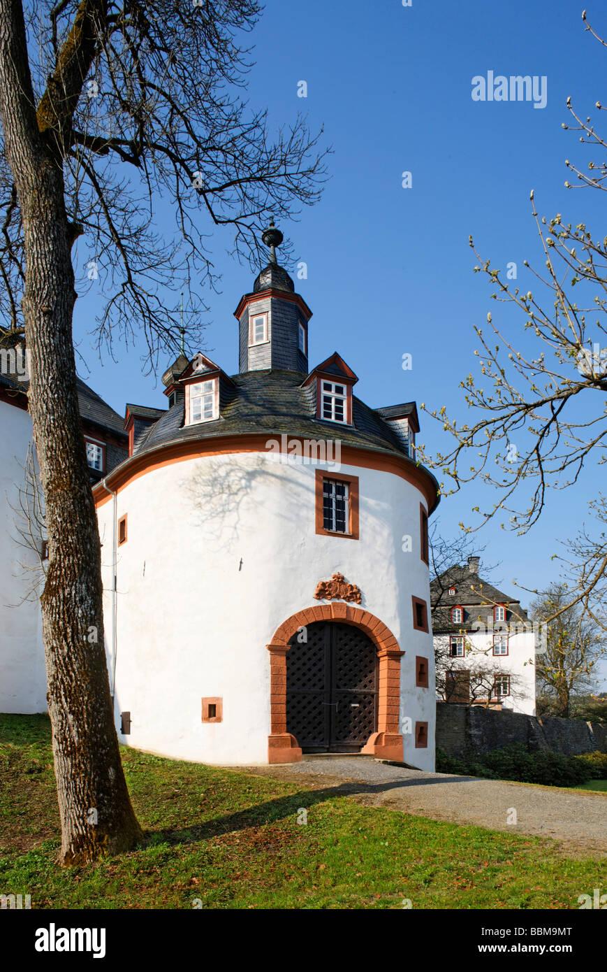Gatehouse, Berleburg Castle, Bad Berleburg, district of Siegen-Wittgenstein, Rothaarsteig, North Rhine-Westphalia, - Stock Image