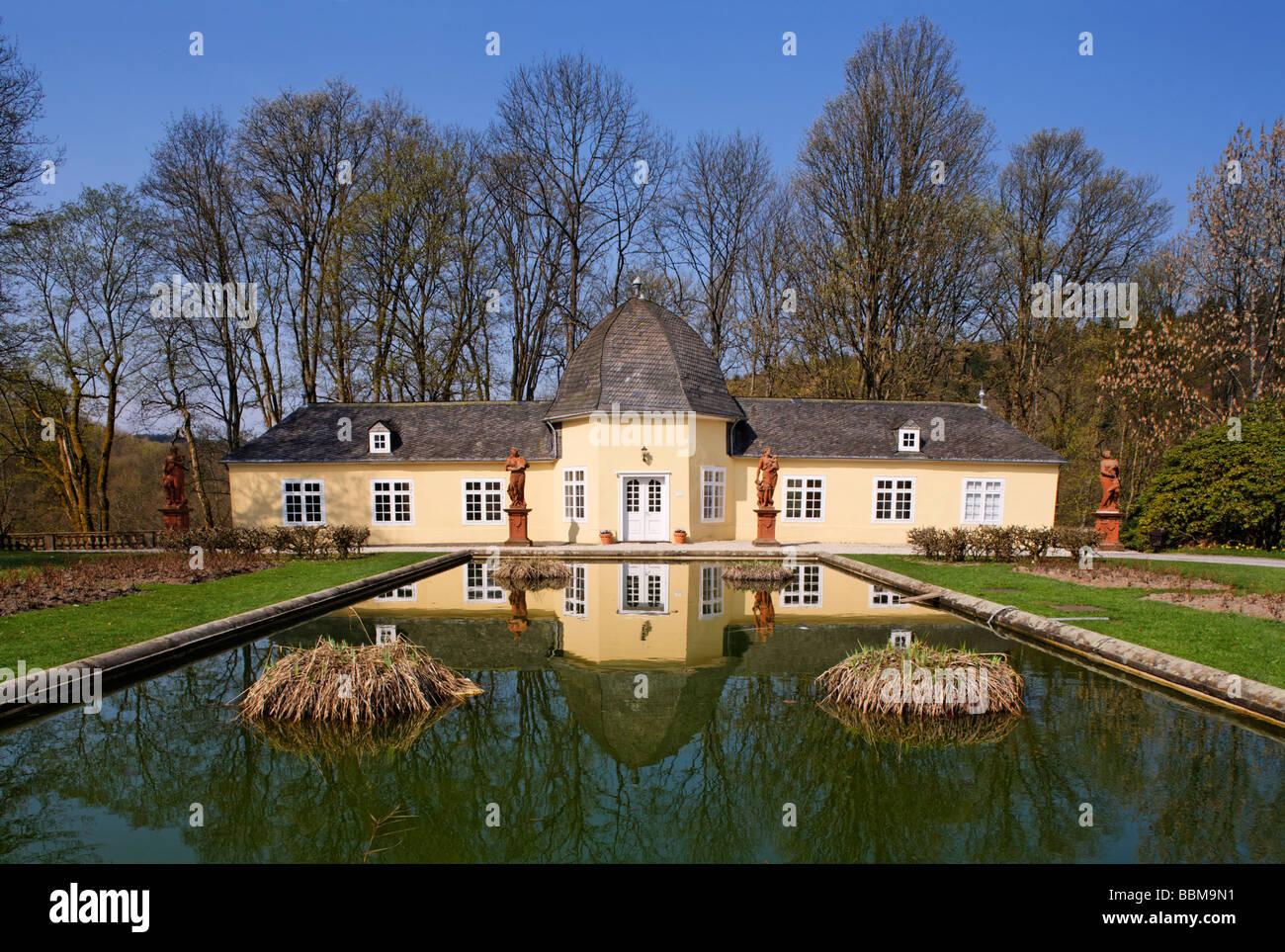 Orangery, civil registry, palace garden, statues, pond, Berleburg Castle, Bad Berleburg, district of Siegen-Wittgenstein, - Stock Image