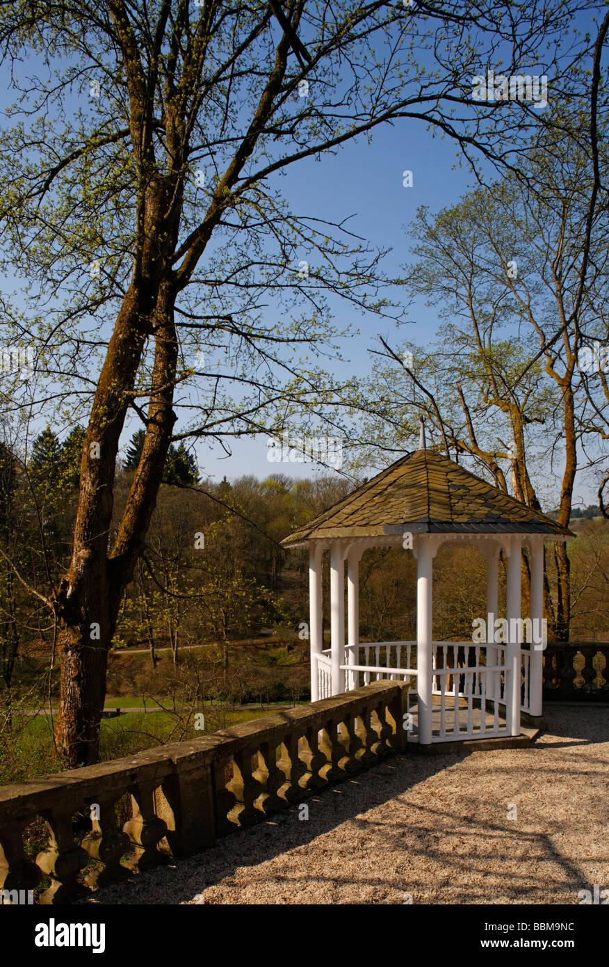 Pavilion in the palace garden, Berleburg Castle, Bad Berleburg, district of Siegen-Wittgenstein, Rothaarsteig, North - Stock Image