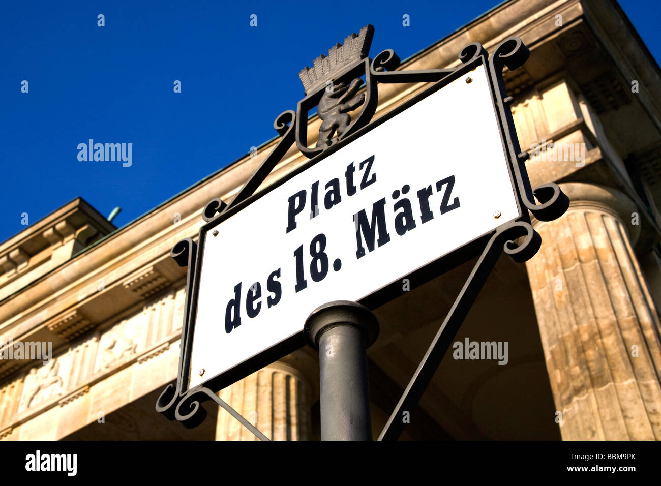 Sign 'Platz des 18. Maerz', 'Square of march 18th', in front of the Brandenburg Gate, Berlin, Germany, - Stock Image