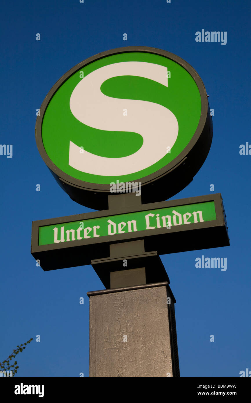 Sign for the tram station Unter den Linden, Mitte district, Berlin, Germany, Europe - Stock Image