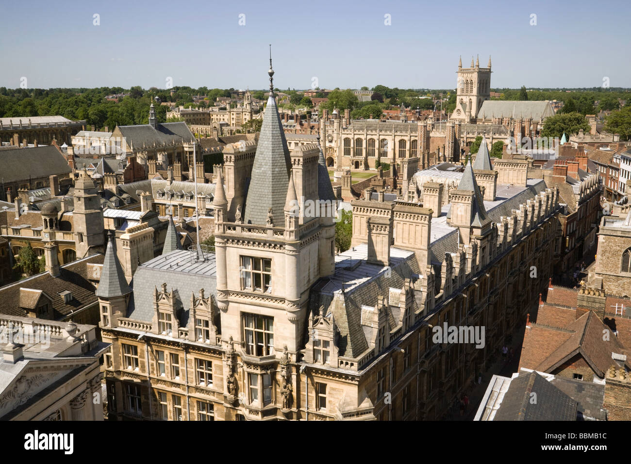 A view over Gonville and Caius, Trinity and St Johns Colleges, Cambridge University - Stock Image