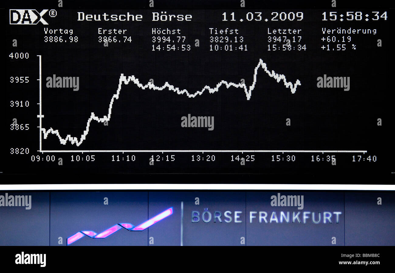 Quotation board of the DAX, trading floor of the Frankfurt Stock Exchange by Deutsche Boerse AG in Frankfurt am Main, Hesse, Ge Stock Photo