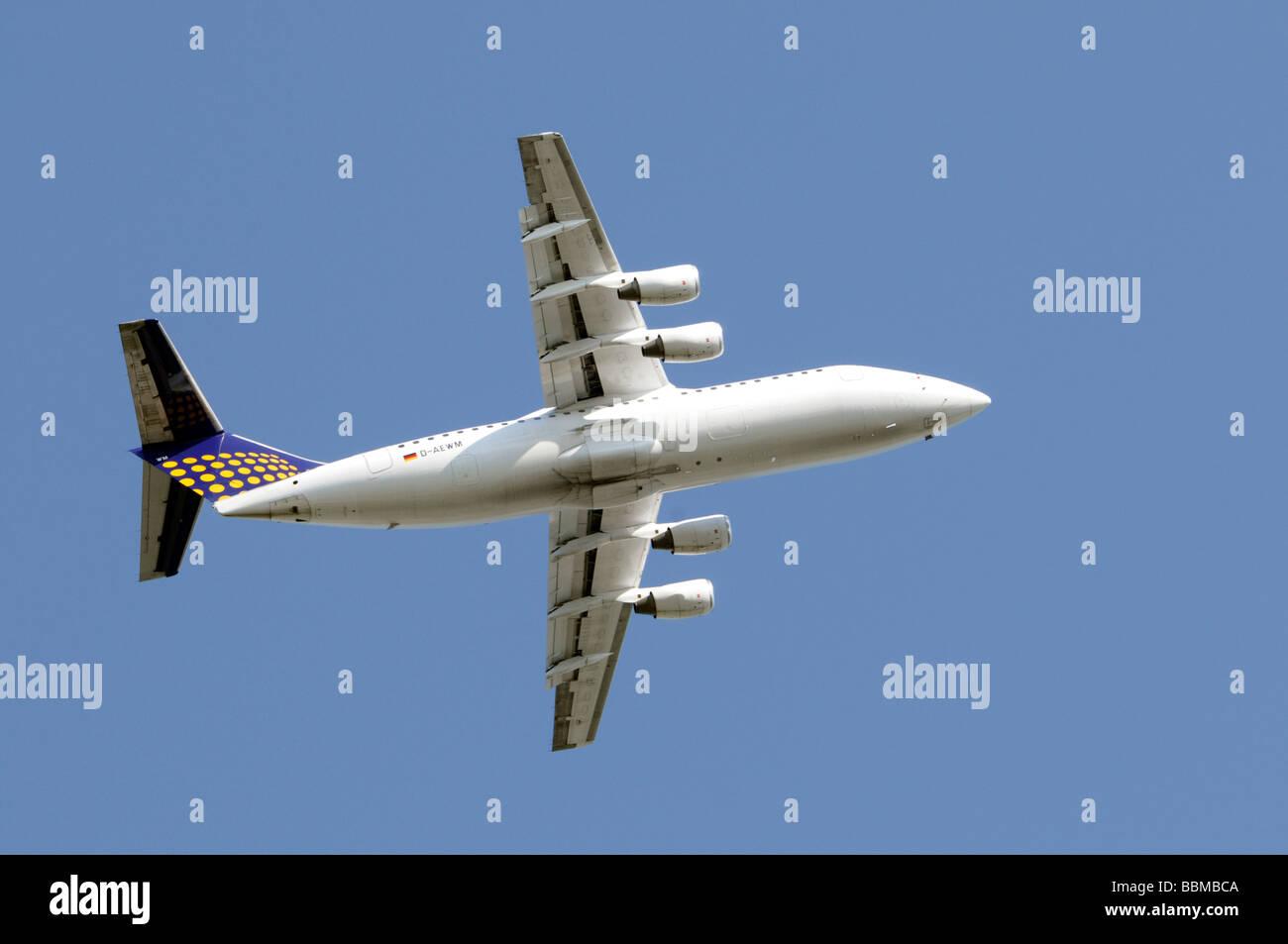 Eurowings BAe 146-300, taking off, Frankfurt Airport, Frankfurt am Main, Hesse, Germany, Europe - Stock Image