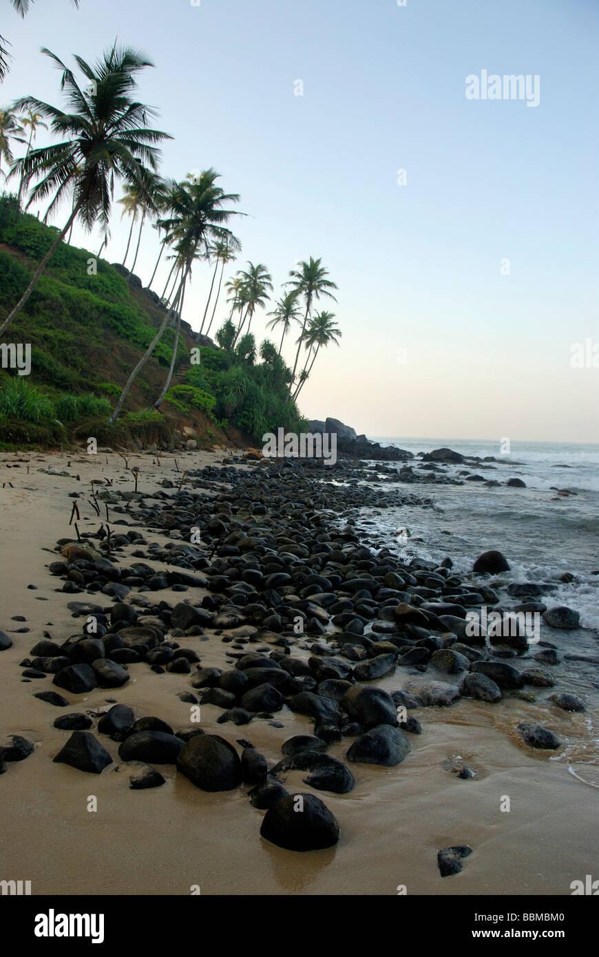 Stones on a beach, palm trees, Talalla near Dondra, Indian Ocean, Ceylon, Sri Lanka, South Asia - Stock Image