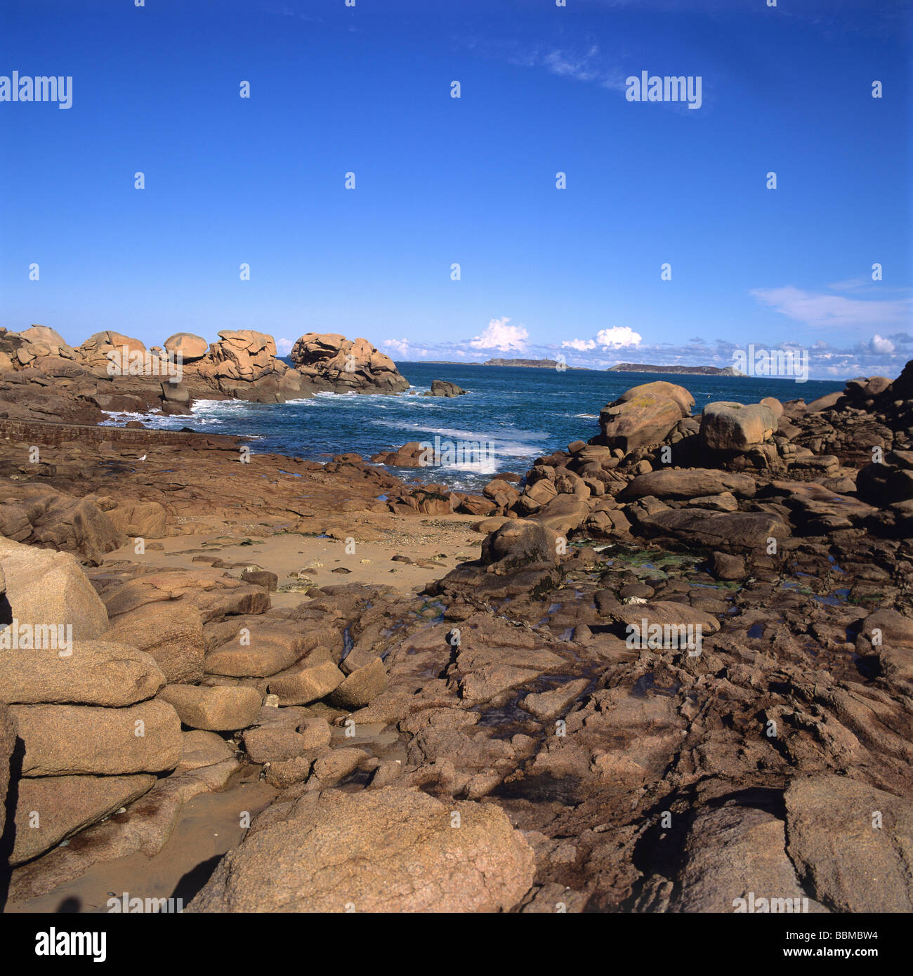 Cote De Granit Rose coast, Cotes-d'Armor, Brittany, France - Stock Image