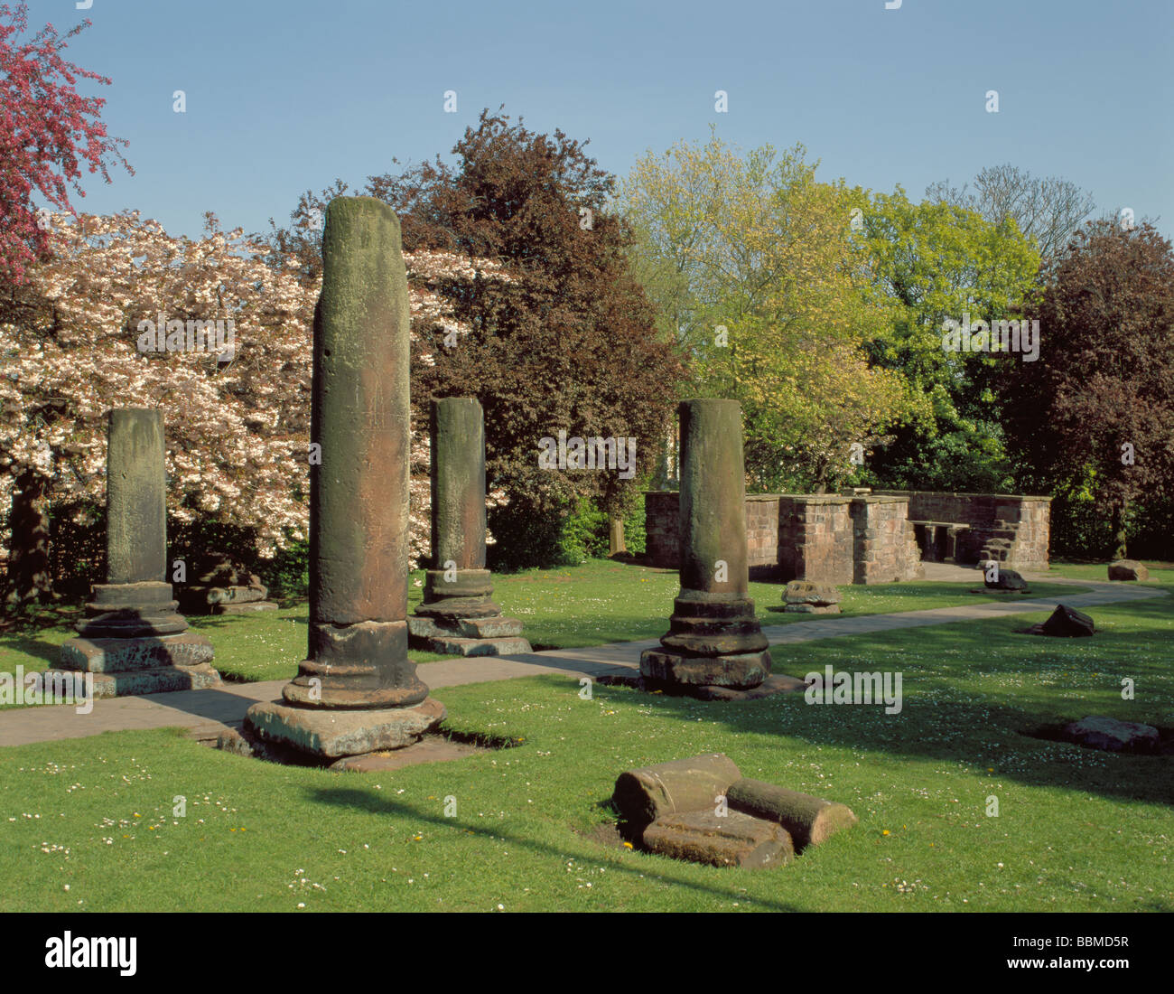 Ruined columns with remains of Hypocaust beyond, Roman Gardens Stock ...