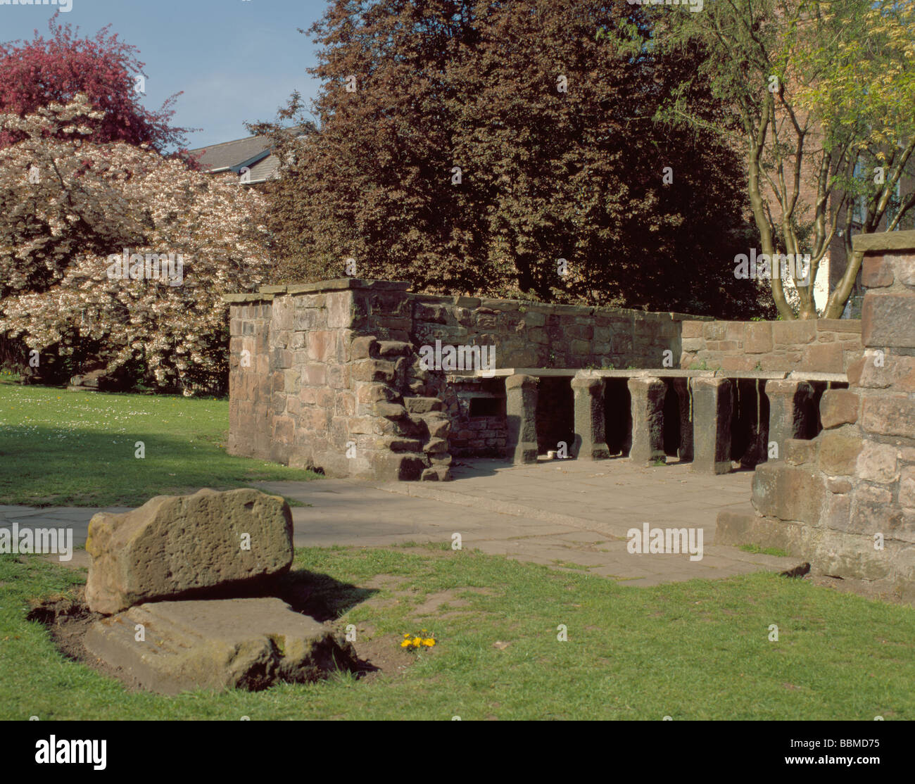 Reconstructed ruins of the Hypocaust, Roman Gardens, Chester Stock ...