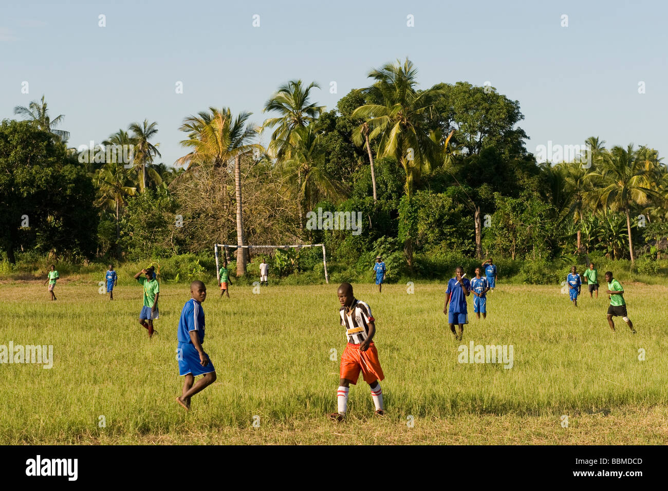 Football players in a match Quelimane Mozambique - Stock Image