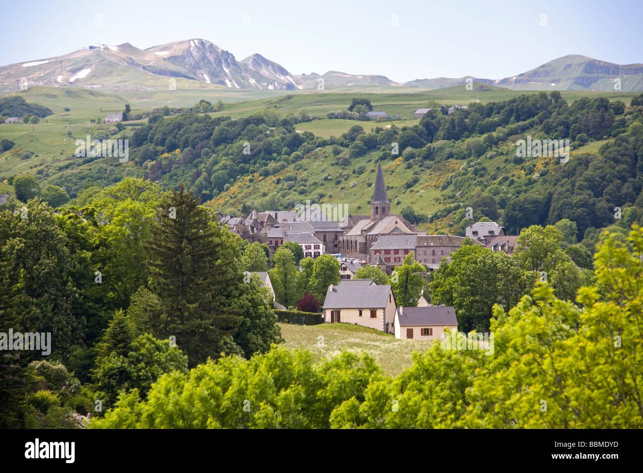 In Spring, a view of the Besse village (Auvergne - France). Au Printemps, une vue du village de Besse (Puy-de-Dôme - Stock Image