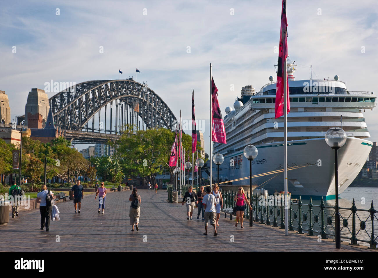 Australia New South Wales. A large passenger liner berthed near Sydney Harbour Bridge. - Stock Image