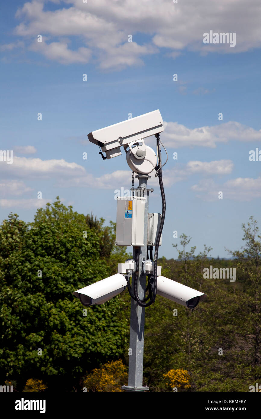CCTV surveillance at Aviemore Railway Station, Scotland, UK Stock Photo