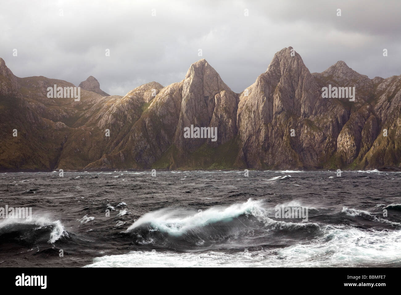 Chile, Tierra del Fuego, Strait of Magellan. Storms and high winds have always made this crucially important seaway - Stock Image