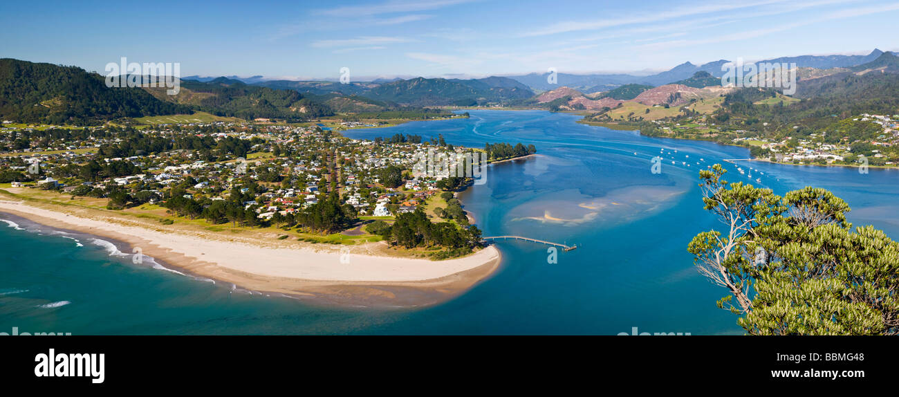 View over Pauanui from Paku Hill Tairua North Island New Zealand - Stock Image