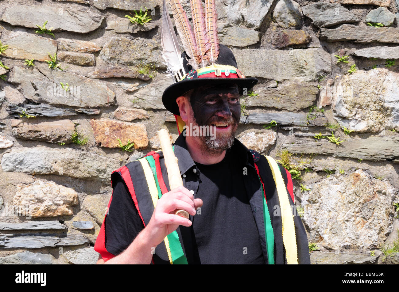 Morris Dancer  at Fishguard Folk Festival Pembrokeshire Wales Cymru UK - Stock Image