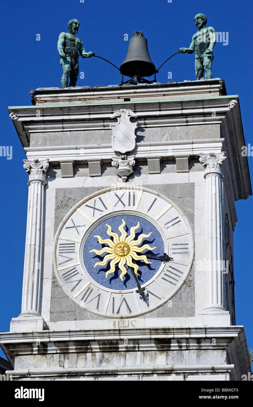 Clock tower, Torre dell'Orologio, Piazza Liberta, Udine, Friuli-Venezia Giulia, Italy, Europe - Stock Image