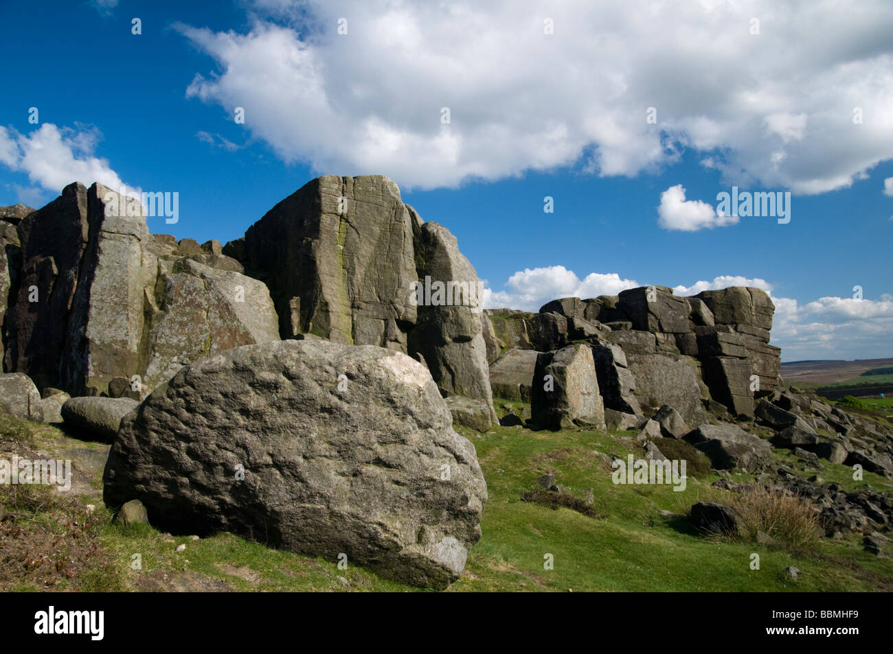 Curbar Edge  in the Peak District National Park Derbyshire England UK - Stock Image