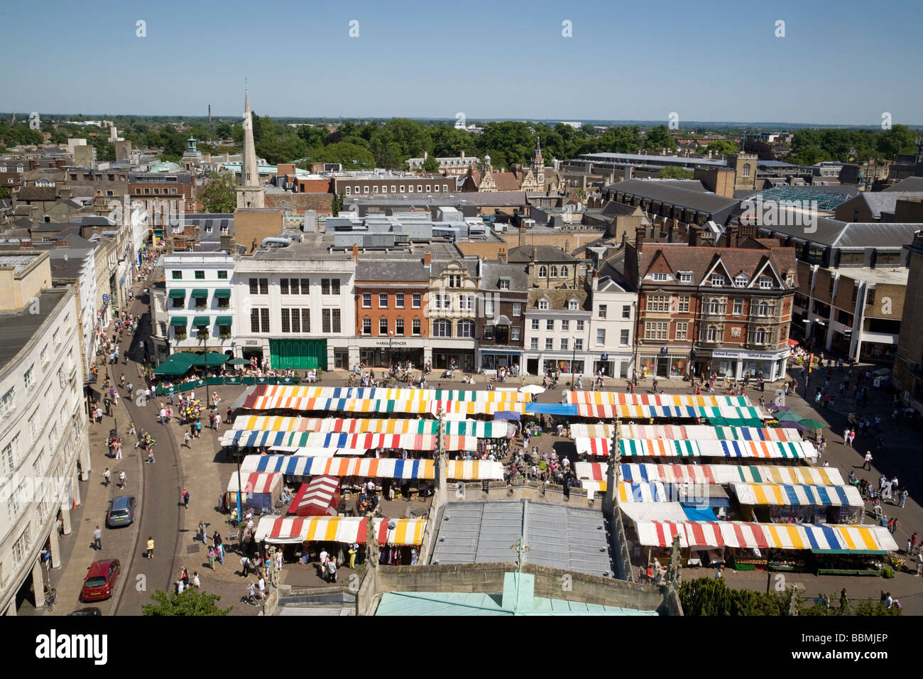 Cambridge skyline and Cambridge Market Square on a sunny summers day, from the top of great St Marys Church, Cambridge, - Stock Image