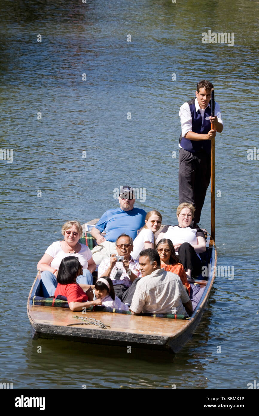 A punt tour on the River Cam, Cambridge, UK on a sunny summers day - Stock Image