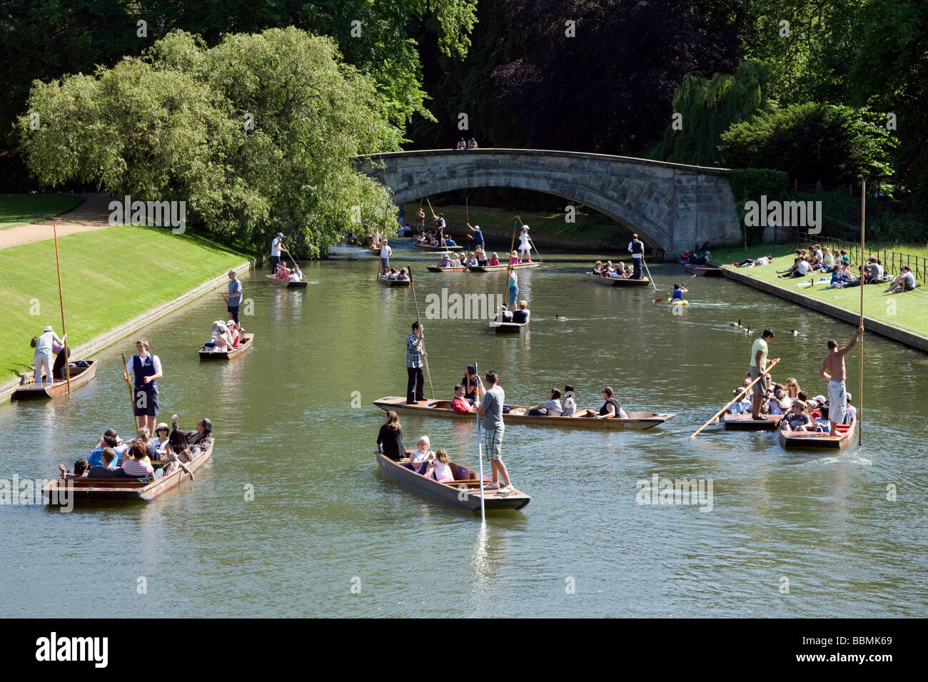 Punting on the River Cam at Kings College, Cambridge, UK on a sunny summers day - Stock Image