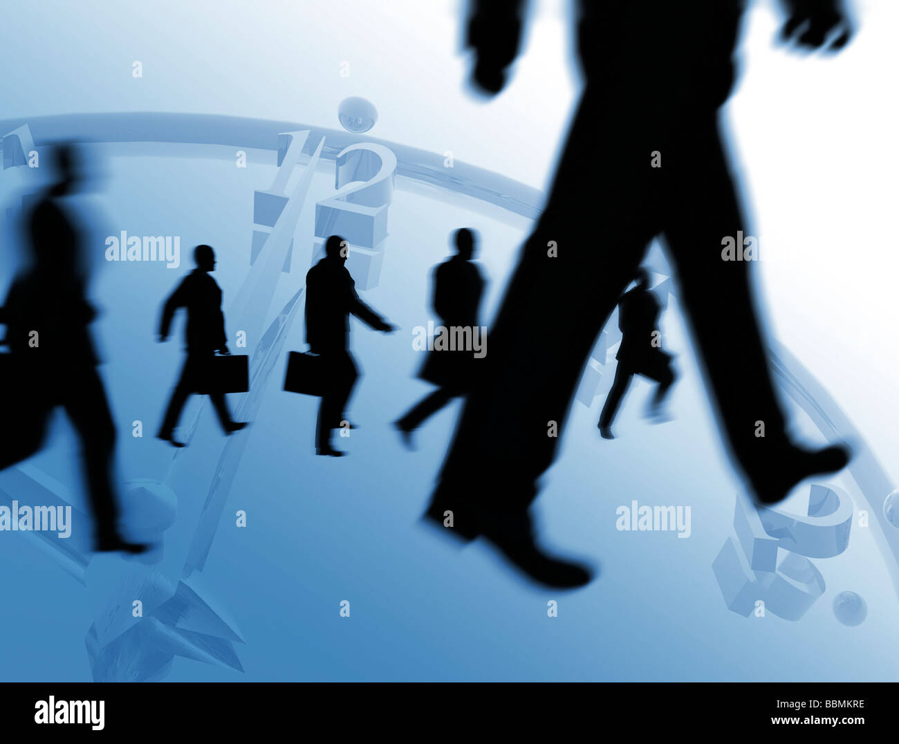 Digital composite of businessmen walking on timepiece - Stock Image