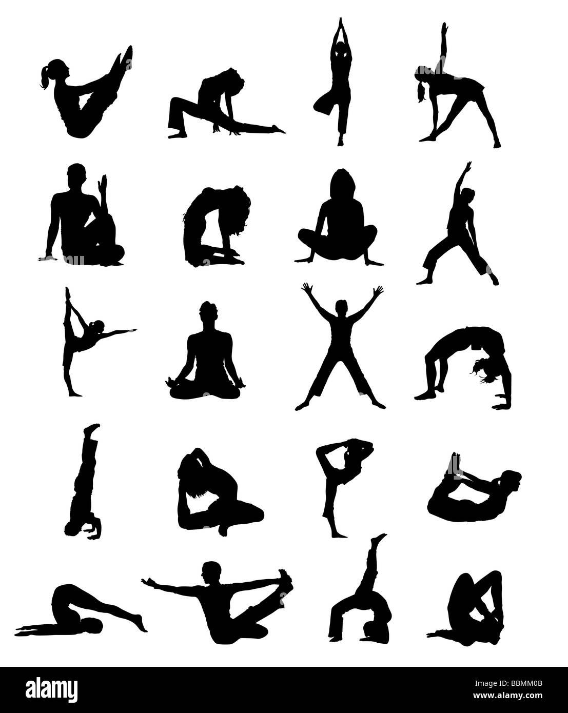graphic illustration silhouette people joga gym sport - Stock Image