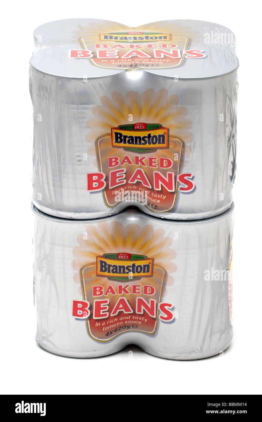 Two cellophaned packs of 4 420gram tins of Branston Beans - Stock Image